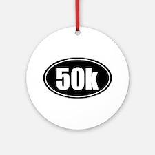 50k 31.1 black oval sticker decal Ornament (Round)