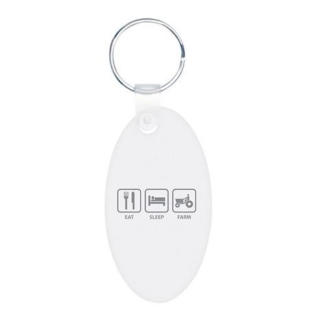 Eat Sleep Farm Aluminum Oval Keychain