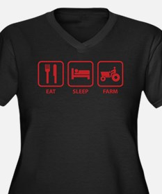 Eat Sleep Farm Women's Plus Size V-Neck Dark T-Shi