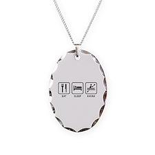 Eat Sleep Kayak Necklace Oval Charm