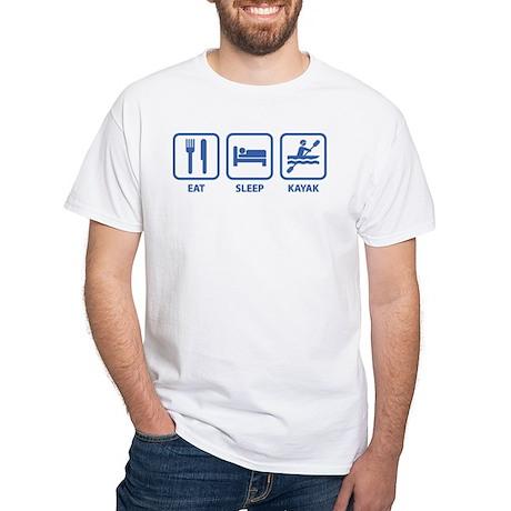 Eat Sleep Kayak White T-Shirt