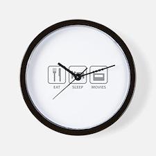 Eat Sleep Movies Wall Clock