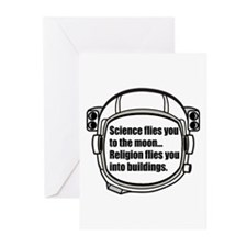 Science flies you to the moon Greeting Cards (Pk o
