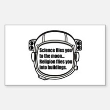 Science flies you to the moon Sticker (Rectangle)