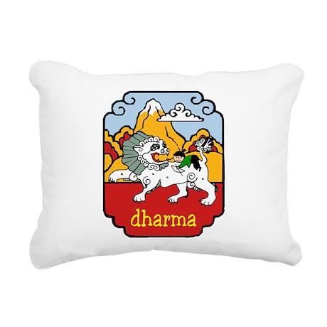 Snow Lion + Dharma Rectangular Canvas Pillow