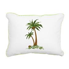 Twin Palm Tree Rectangular Canvas Pillow