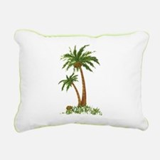 Twin Palm Tree Rectangular Canvas Pillow