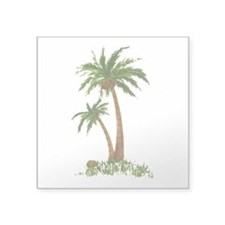 Twin Palm Tree Square Sticker 3in x 3in