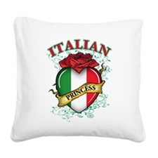 italian princess(blk).png Square Canvas Pillow