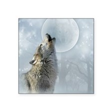"Wolf Blue Moon Square Sticker 3"" x 3"""