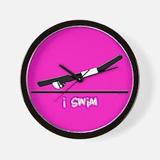 i swim (boy) solid pink Wall Clock