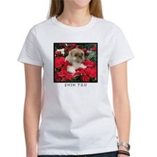 Shih Tzu Christmas Poinsettia Sandy Tee