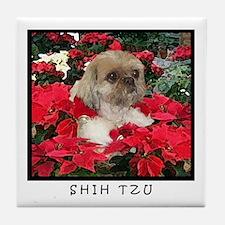 Shih Tzu Christmas Poinsettia Sandy Tile Coaster