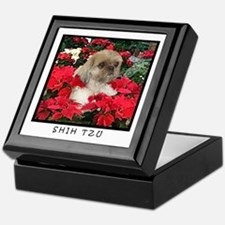 Shih Tzu Christmas Poinsettia Sandy Keepsake Box