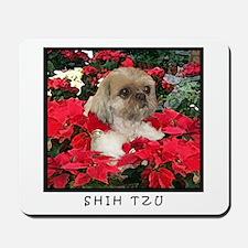 Shih Tzu Christmas Poinsettia Sandy Mousepad