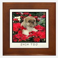 Shih Tzu Christmas Poinsettia Sandy Framed Tile