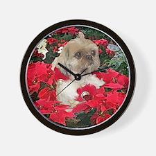 Shih Tzu Christmas Poinsettia Sandy Wall Clock