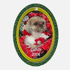 Shih Tzu Christmas Poinsettia Sandy Ornament (Oval