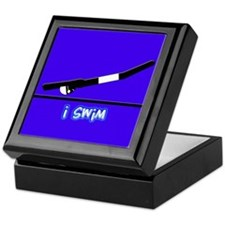 i swim (boy) solid blue Keepsake Box