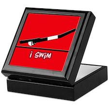 i swim (boy) solid red Keepsake Box