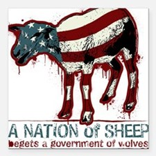 "A Nation Of Sheep Square Car Magnet 3"" x 3"""