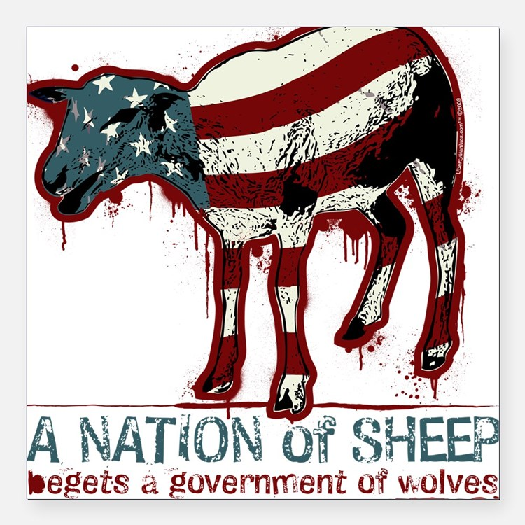 """A Nation Of Sheep Square Car Magnet 3"""" x 3"""""""