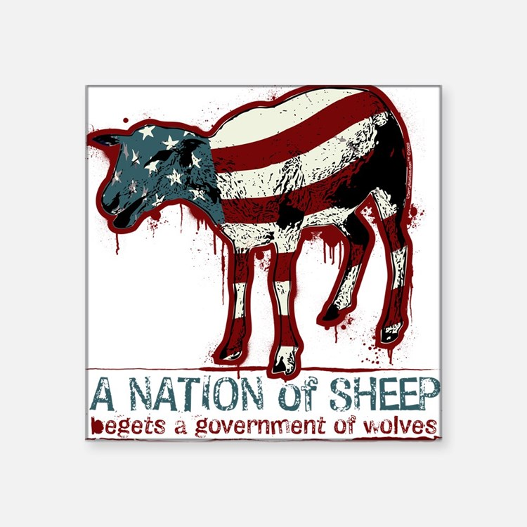 """A Nation Of Sheep Square Sticker 3"""" x 3"""""""