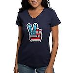 Peace America Women's V-Neck Dark T-Shirt