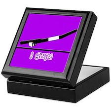 i swim (boy) solid purple Keepsake Box