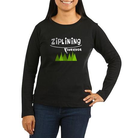 ziplines darks.PNG Women's Long Sleeve Dark T-Shir