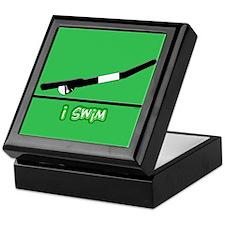 i swim (boy) solid green Keepsake Box