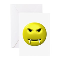 Vampire Smiley Face Greeting Cards (Pk of 10)