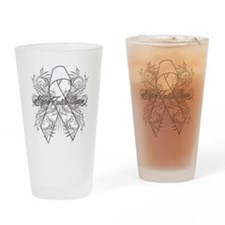 Lung Cancer Flourish Drinking Glass