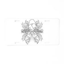 Lung Cancer Flourish Aluminum License Plate