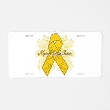 Childhood Cancer Flourish Aluminum License Plate