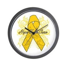 Childhood Cancer Flourish Wall Clock