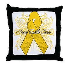 Childhood Cancer Flourish Throw Pillow