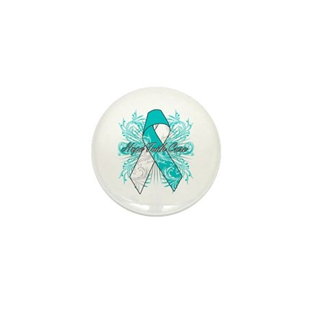 Cervical Cancer Flourish Mini Button