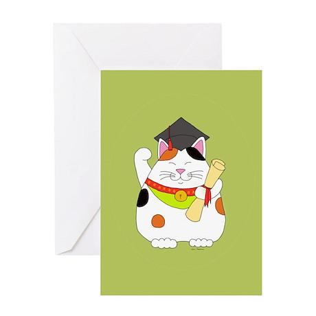 Graduation Maneki Neko Greeting Card