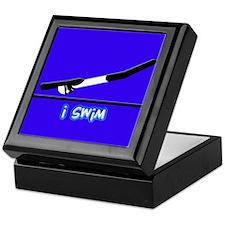 i swim (girl) solid blue Keepsake Box
