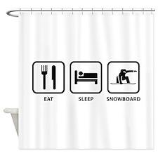 Eat Sleep Snowboard Shower Curtain