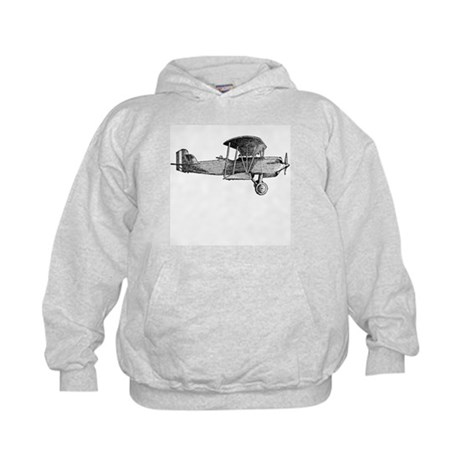 Retro Black and White Plane Kids Hoodie