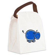bright blue hippo.png Canvas Lunch Bag