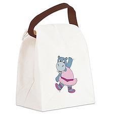 hippo ballerina copy.jpg Canvas Lunch Bag