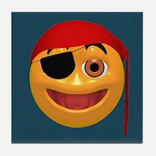Pirate Smiley Face Tile Coaster