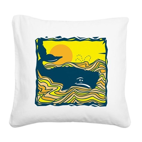 swimming whale design.png Square Canvas Pillow