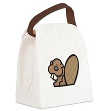cute lil beaver.psd Canvas Lunch Bag