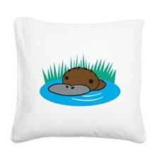 silly platypus in the water.png Square Canvas Pill