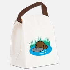 silly platypus in the water.png Canvas Lunch Bag