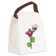 cute silly bee flower.png Canvas Lunch Bag